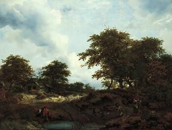 Woody Landscape with Pool and Figures | Jacob van Ruisdael | Oil Painting