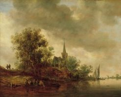 River Landscape with a Village Church | Jan van Goyen | Oil Painting