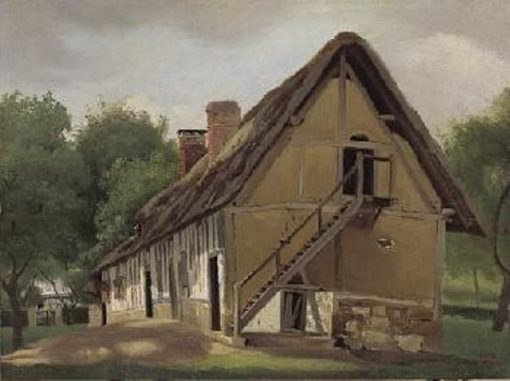 A Farm Building at Bois-Guillaume near Rouen | Jean Baptiste Camille Corot | Oil Painting