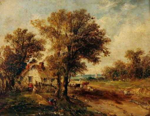 A Farmstead with Cattle | Alfred Vickers | Oil Painting