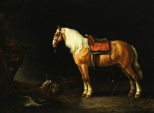 A Saddled Horse with a Goat in a Stable | Abraham van Calraet | Oil Painting