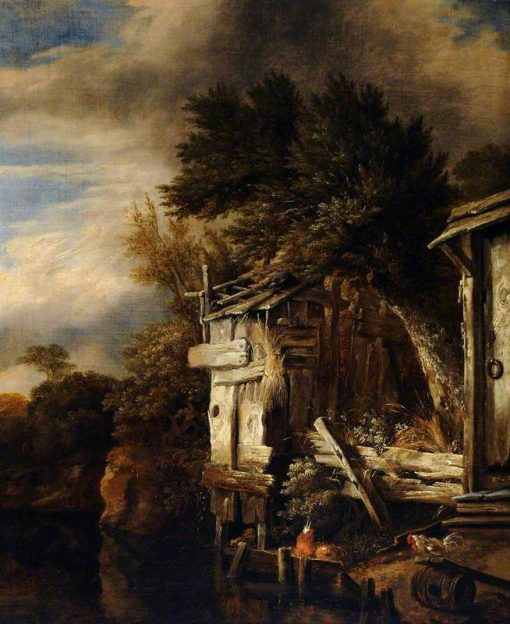 A Wooded River Landscape with Poultry by a Hut   Cornelis Gerritsz. Decker   Oil Painting