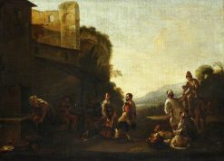 An Italianate Landscape with Peasants Dancing | Jan Miel | Oil Painting