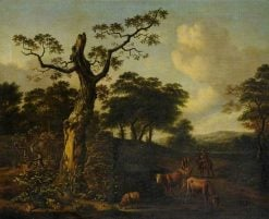 Extensive Wooded Landscape with Herdsmen and Cattle on a Road | Jan Wijnants | Oil Painting