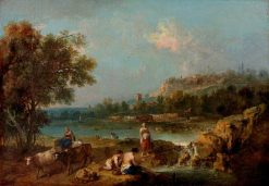 River Scene with Peasants | Francesco Zuccarelli | Oil Painting