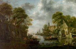 River Scene with Boats and Figures | Klaes Molenaer | Oil Painting