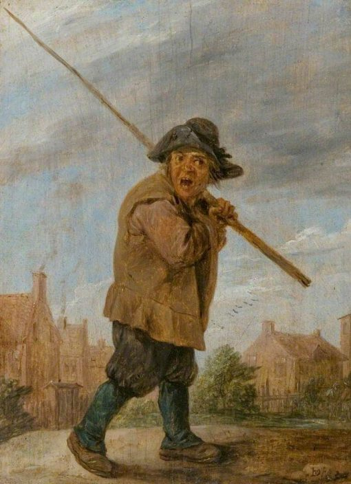 A Peasant carrying a Pole   David Teniers II   Oil Painting