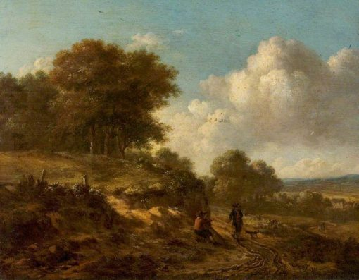 Landscape with Peasants and a Dog | Jan Wijnants | Oil Painting