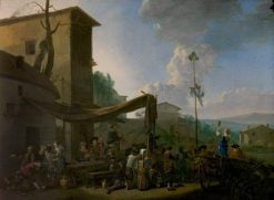 A Village Festival with Peasants Merrymaking Outside an Inn | Johannes Lingelbach | Oil Painting