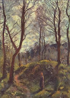 Wooded Landscape with woman | Camille Pissarro | Oil Painting