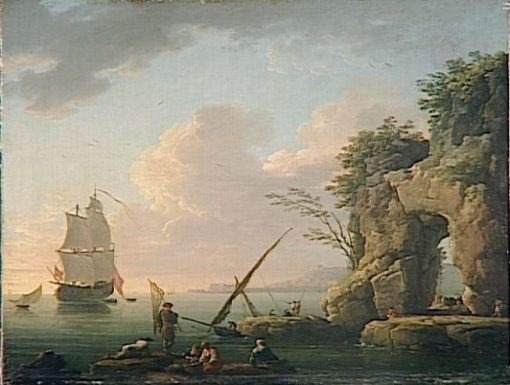 Calm Sea with Setting Sun | Claude Joseph Vernet | Oil Painting