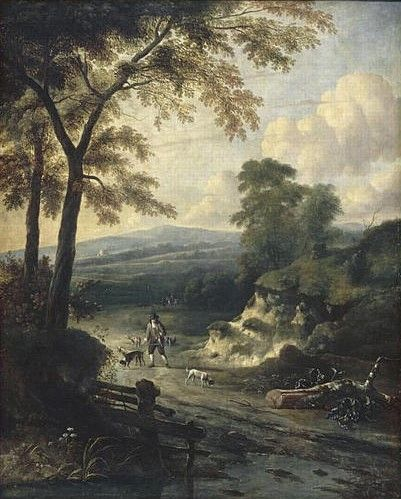 Landscape with a Falconer | Jan Wijnants | Oil Painting
