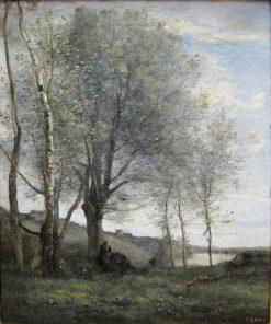 Effet du matin: Le P?tre aux deux chevres (Shepherd with Two Goats) | Jean Baptiste Camille Corot | Oil Painting