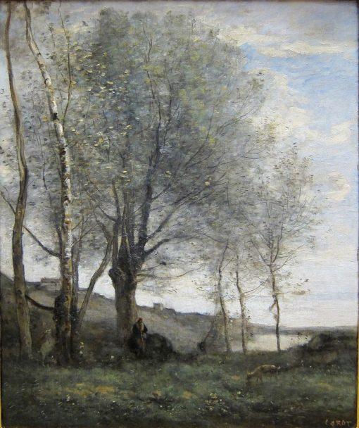 Effet du matin: Le P?tre aux deux chevres (Shepherd with Two Goats)   Jean Baptiste Camille Corot   Oil Painting