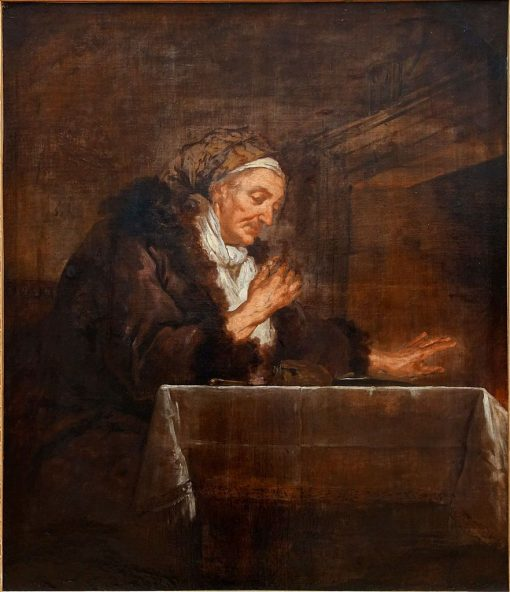 Old Woman Warming Her Hands by the Fire | Jean Francois de Troy | Oil Painting