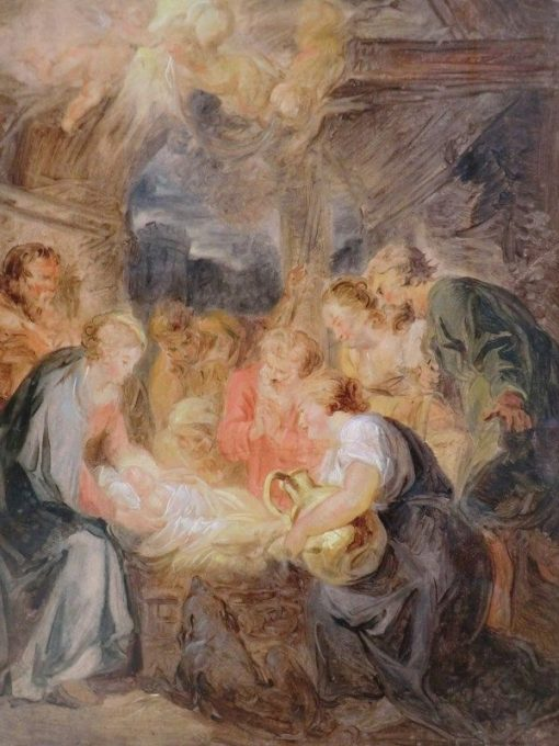 Study: L'Adoration des bergers (Adoration of the Shepherds) | Jean HonorE Fragonard | Oil Painting