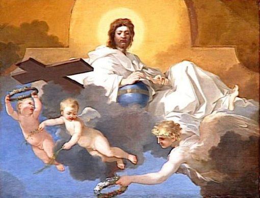 Christ Surrounded by Angels   Sebastien Bourdon   Oil Painting