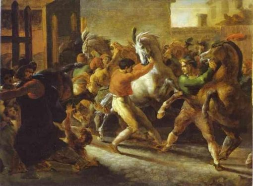 Horse Races in Rome   ThEodore GEricault   Oil Painting