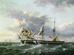 U.S.S. WASP Boarding H.M Brig FROLIC | Thomas Birch | Oil Painting