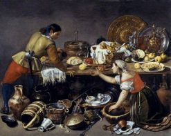 Two Figures at a Table with Kitchen Utensils(also known as Allegory of Lost Virtue)   Antonio de Pereda   Oil Painting