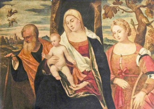 The Virgin and Child with Saint Joseph and Saint Catherine of Alexandria | Giovanni Cariani | Oil Painting
