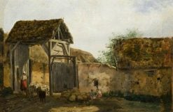 Farmstead with Figures | Charles Emile Jacque | Oil Painting