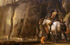Horsemen in a Ravine | Abraham van Calraet | Oil Painting