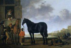 Saddling Horses | Abraham van Calraet | Oil Painting