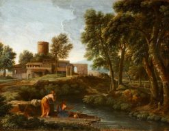 Landscape with a Man Fishing   Gaspard Dughet   Oil Painting
