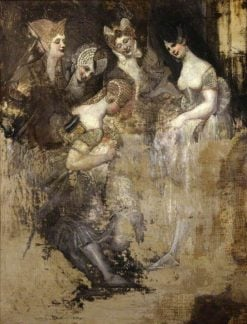 Group of Five Women Mocking an Effaced Figure(also known as Falstaff in the Laundry Basket Mocked by Women) | Johann Heinrich Fuseli | Oil Painting