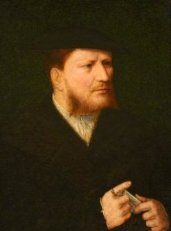 Portrait of an Unknown Man in Black with a Letter | Joos van Cleve | Oil Painting