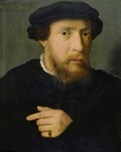 Portrait of a Man in Black with an Emerald Ring | Joos van Cleve | Oil Painting