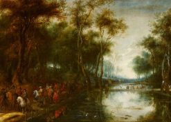 A Procession of Cavalry Passing through a Wood beside Fishponds | Lucas van Uden | Oil Painting