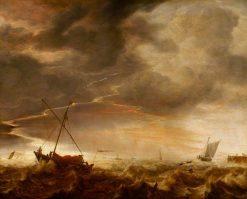 Seascape: Storm at Sea | Simon de Vlieger | Oil Painting