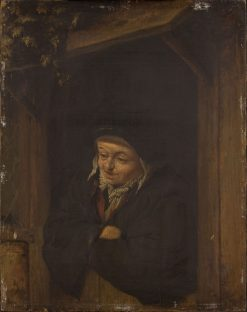Woman Leaning Out a Half Door | Adriaen van Ostade | Oil Painting