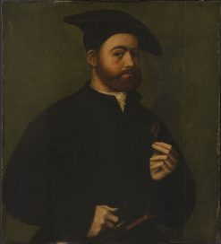 Portrait of a Man Holding a Rose | Ambrosius Benson | Oil Painting