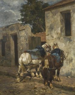Percherons at Barbizon | Charles Emile Jacque | Oil Painting