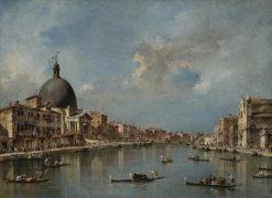 The Grand Canal with San Simeone Piccolo and Santa Lucia | Francesco Guardi | Oil Painting
