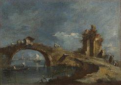 Capriccio with a Bridge | Francesco Guardi | Oil Painting