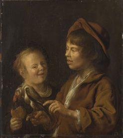 Two Children Feeding a Bird | Jan Miense Molenaer | Oil Painting