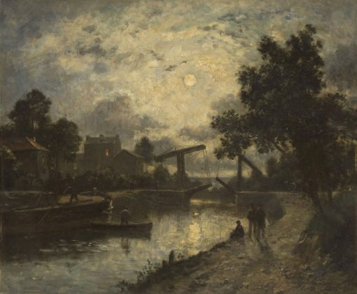 Nocturnal Landscape with a Drawbridge | Johan Barthold Jongkind | Oil Painting