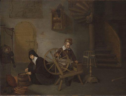 A Wool Spinner and His Wife | Quiringh van Brekelenkam | Oil Painting