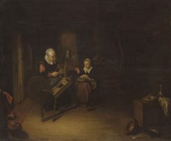 A Woman and a Girl in a KItchen   Quiringh van Brekelenkam   Oil Painting