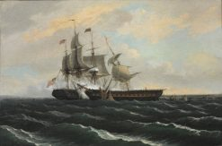 Constitution and Guerriere   Thomas Birch   Oil Painting