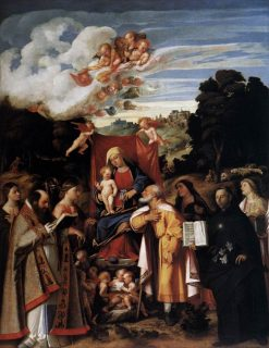 The Virgin Enthroned with Angels and Saints | Giovanni Cariani | Oil Painting