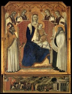 The Madonna with Saint Nicholas and the Prophet Elijah | Pietro Lorenzetti | Oil Painting