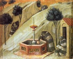 Hermits at the Fountain of Elijah (predella panel) | Pietro Lorenzetti | Oil Painting