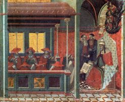 The Pope Issues a Bull to a Carmelite Delegation (predella panel) | Pietro Lorenzetti | Oil Painting