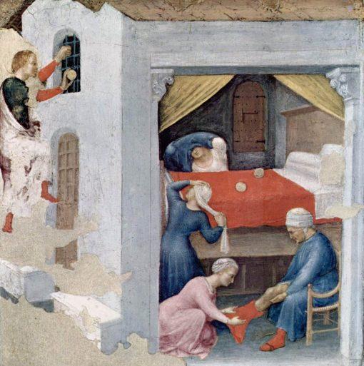 Saint Nicholas and Three Poor Maidens (Quaratesi Altarpiece) | Gentile da Fabriano | Oil Painting