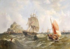 Shipping off St Michael's Mount | William Adolphus Knell | Oil Painting
